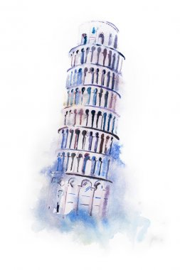 Watercolor drawing leaning tower of Pisa