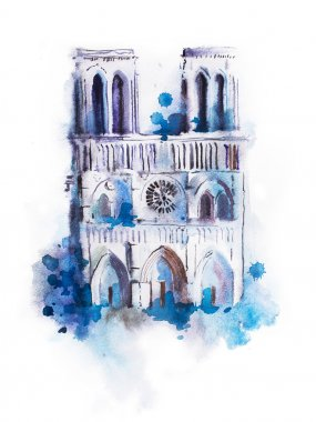 Watercolor drawing of Notre-dame.
