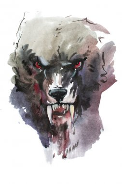 Watercolor drawing of black angry looking wolf