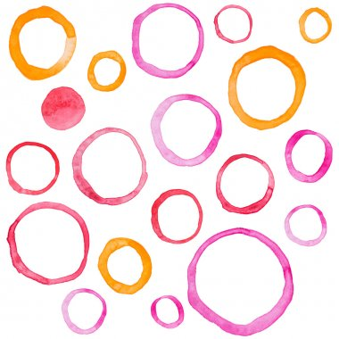 Hand draw watercolor rings circle round stains art paint. stock vector