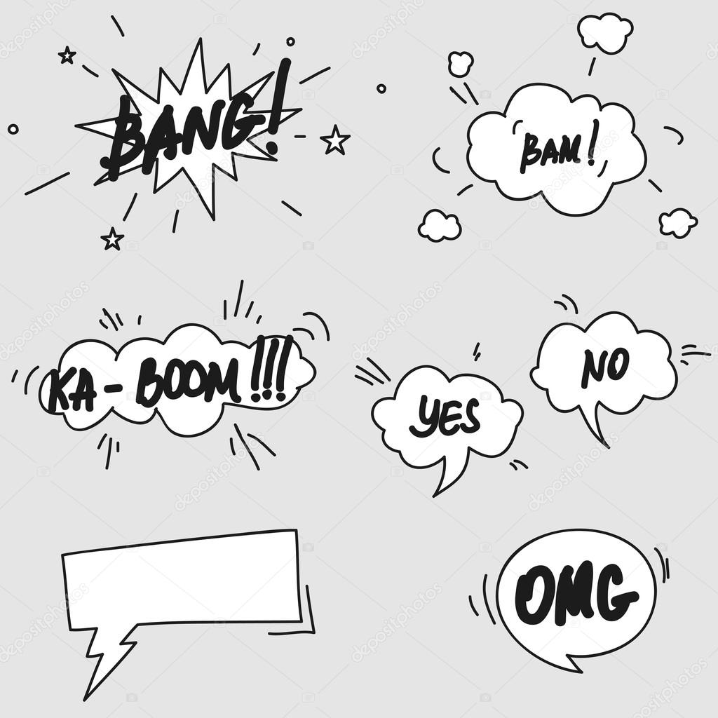 Set of hand drawn comic speech bubbles elements symbols and sound set of hand drawn comic speech bubbles elements symbols and sound effects stock vector biocorpaavc Gallery