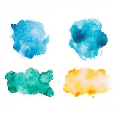 Watercolor aquarelle hand drawn shapes art paint