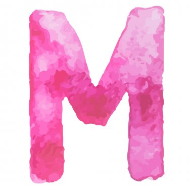 Letter  M Colorful watercolor aquarelle font type handwritten hand draw doodle abc alphabet letters Vector illustration.