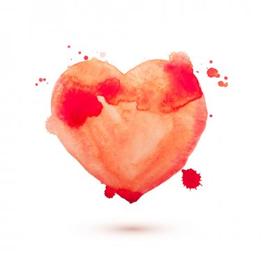 Hand draw watercolor aquarelle art paint love red heart Vector illustration