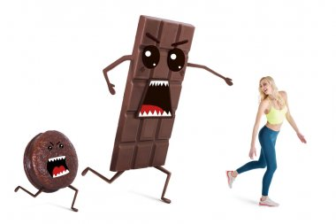 Pretty girl on a diet  controls her weight. Concept running away from temptations like chocolate and sweets.