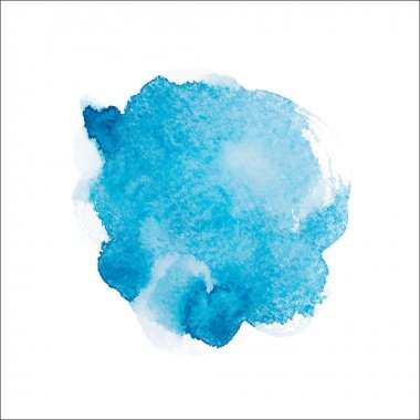 Abstract watercolor aquarelle hand drawn blue art paint on white background Vector illustration
