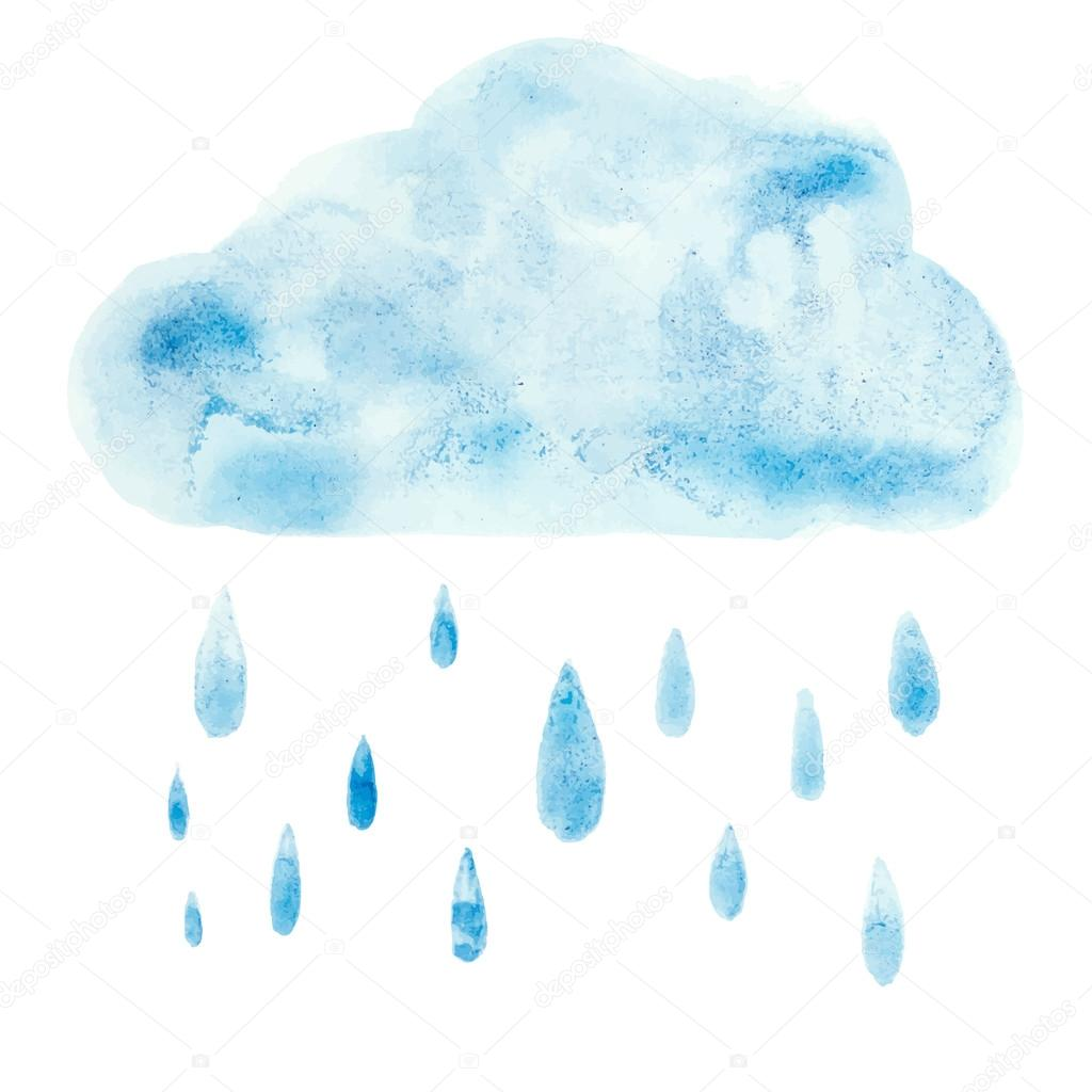 Hand draw aquarelle art paint blue watercolor cloud rain drop Vector illustration