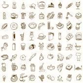 Ráno snídaně oběd nebo večeři kuchyně doodle ručně kreslenou skica drsné jednoduché ikony káva, čaj, Kobliha, konvice, košíček, jam a jiné sladkosti