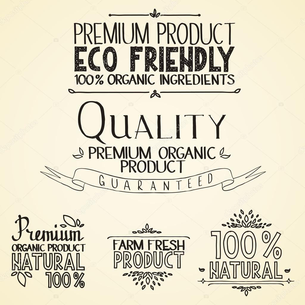 Premium quality organic health food headings natural product nature-themed badges and labels with green leaves hand draw handwritten text