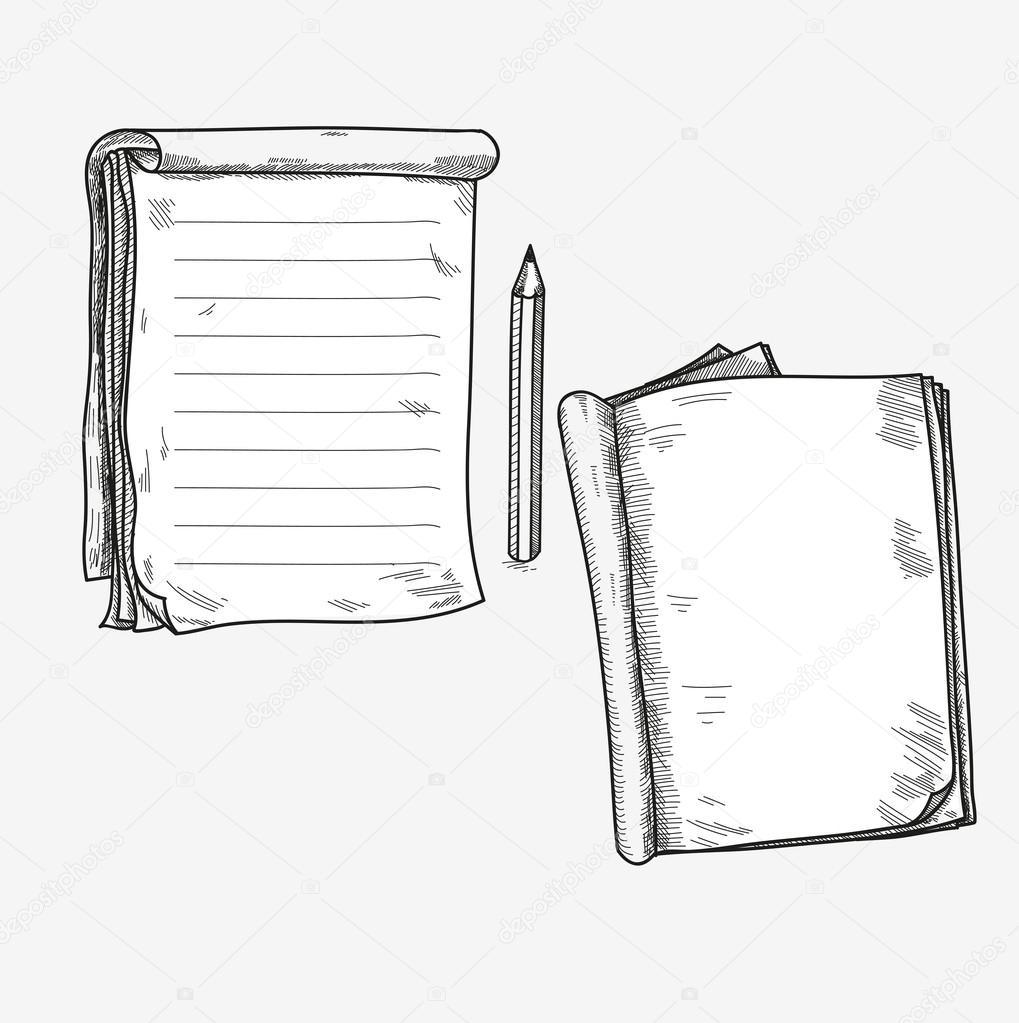 Hand gezeichneten Gekritzel Skizze öffnen Notebook, klare Seite ...
