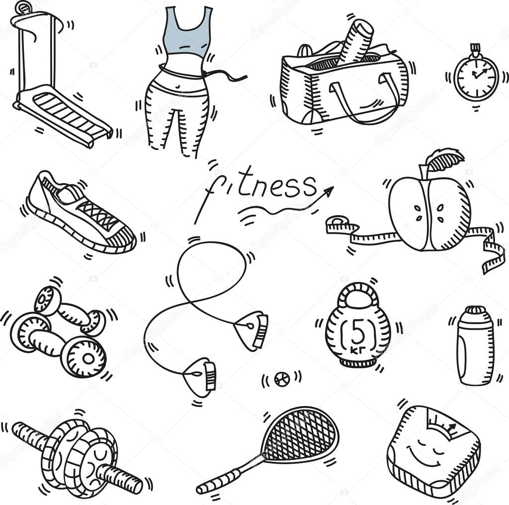 Hand drawn doodle sketch icons set fitness and sport concept healthy nutrition lifestyle, diet