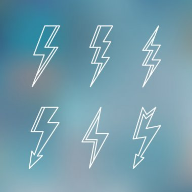 Lightning icon minimal linear contour outline style blurred background vector illustration