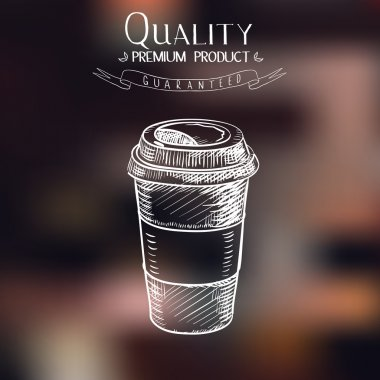 hand drawn doodle sketch vintage paper cup of coffee takeaway Menu for restaurant, cafe, bar, coffeehouse