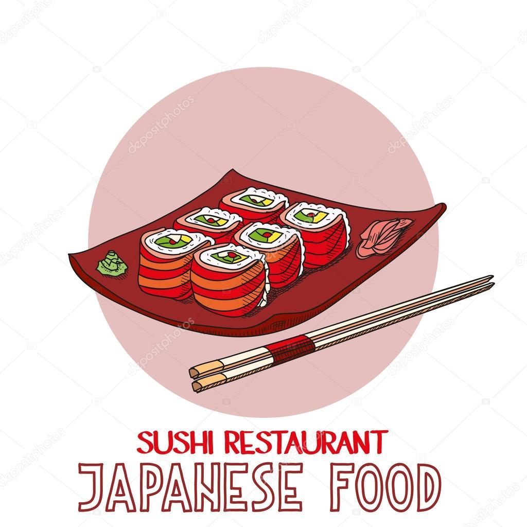Japanese food cuisine roll sushi restaurant vector