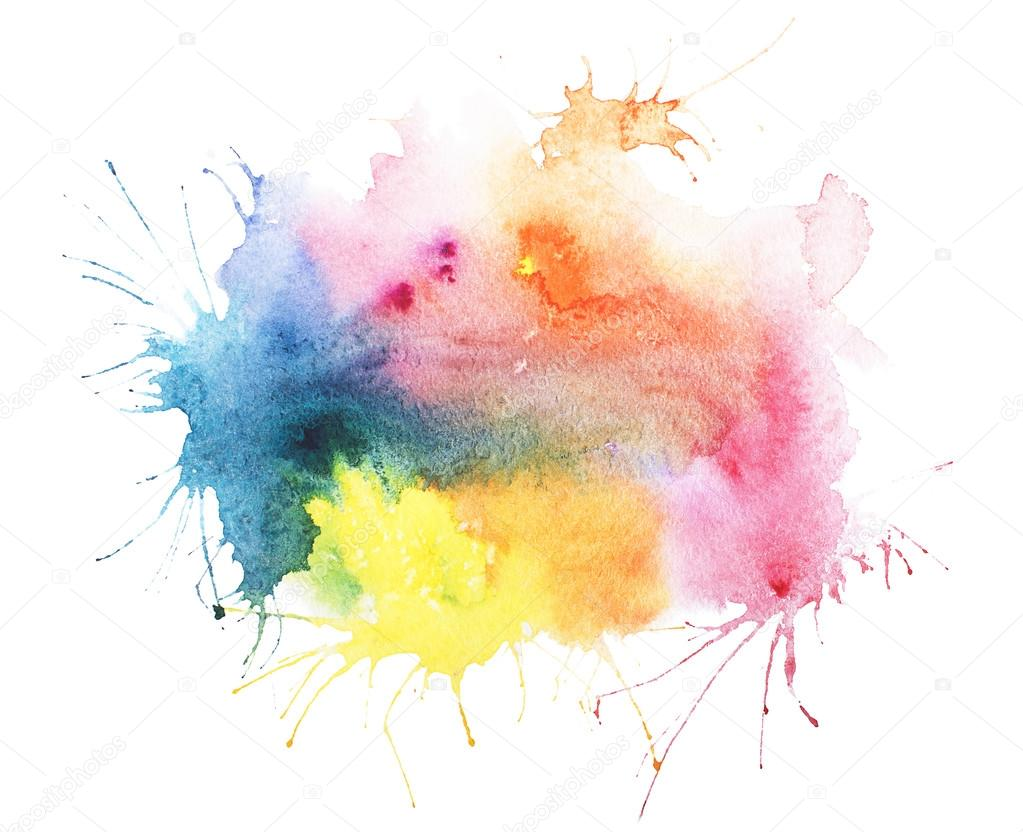 Abstract watercolor aquarelle hand drawn blot colorful paint splatter stain