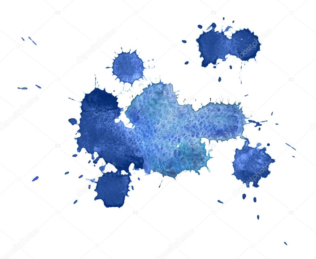 abstract watercolor aquarelle hand drawn colorful blue art