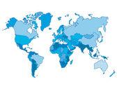 Modrý svět mapa a vektorové ilustrace