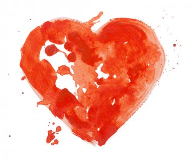 Watercolor aquarelle hand drawn colorful red heart art color paint or blood splatter stain.