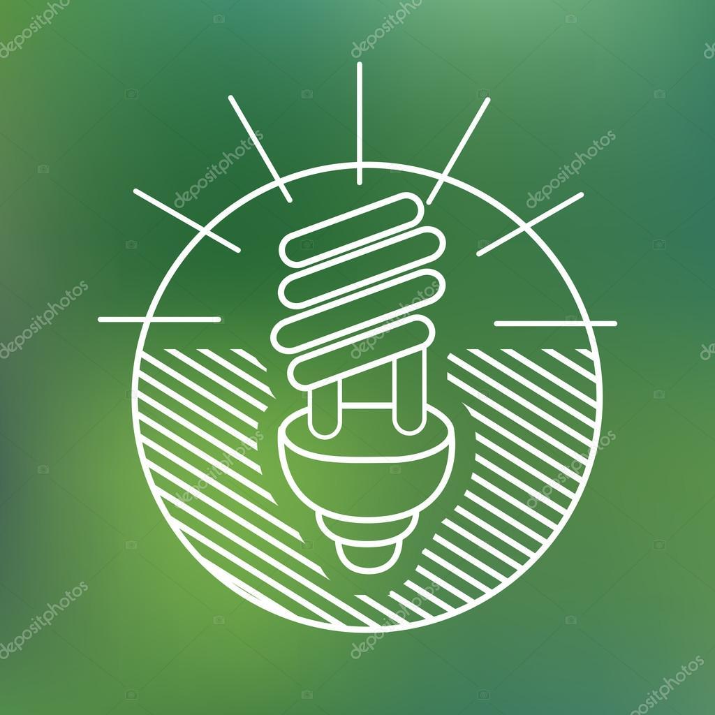 energy saving spiral eco lamp fluorescent light bulb linear icon environmentally friendly planet Ecology Concept