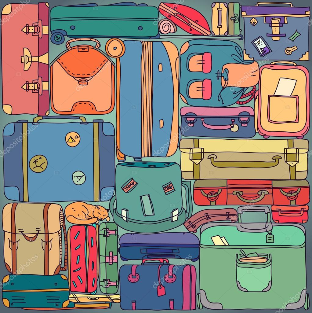 Collection of vintage travel suitcases with stickers