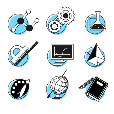 Science linear icons set school lessons disciplines