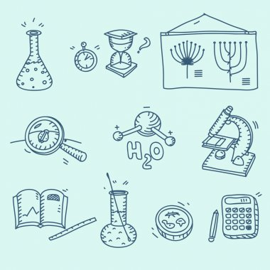 Science icons set school laboratory chemistry biology experiment investigation and observation hand drawn doodle sketch style