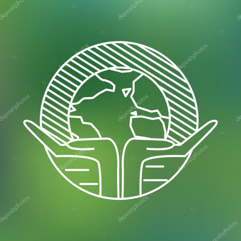 Earth globe in human hands planet protection care recycling save earth globe in human hands planet protection care recycling save ecology concept linear icon stock buycottarizona Choice Image