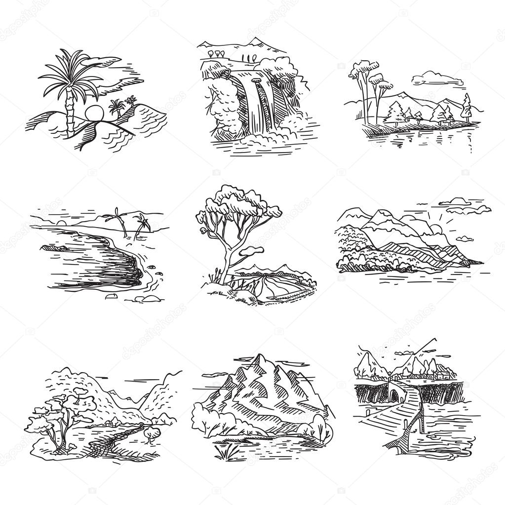Фотообои Hand drawn rough draft doodle sketch nature landscape illustration with sun hills sea forest waterfall