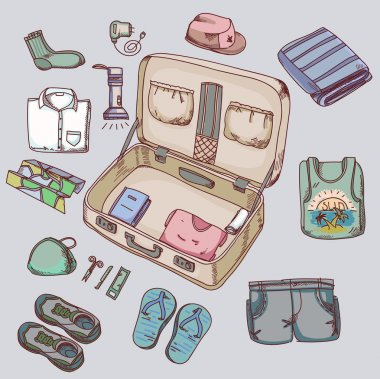 Suitcase with things clothing for travelling summer vacation.