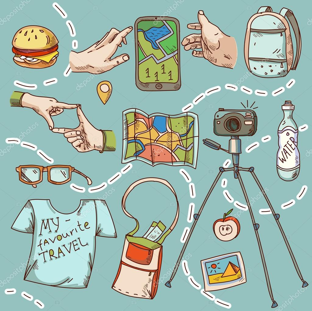 Travel and tourism icon things for travelling summer vacation.