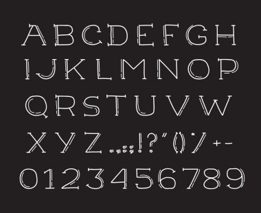 Hand drawin alphabet handwritting abc vector font. Type letters, numbers and punctuation marks.
