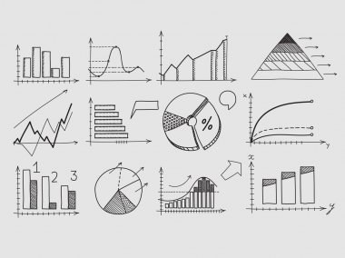 Hand draw doodle elements chart graph. Concept business finance analytics earnings statistics.