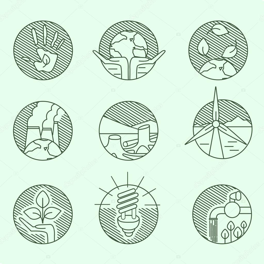 Ecology organic signs eco and bio elements in hand drawn style nature planet protection care recycling save concept linear icons