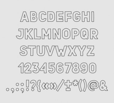 Hand drawin Handmade vintage alphabet handwritting abc vector font. Type letters, numbers and punctuation marks