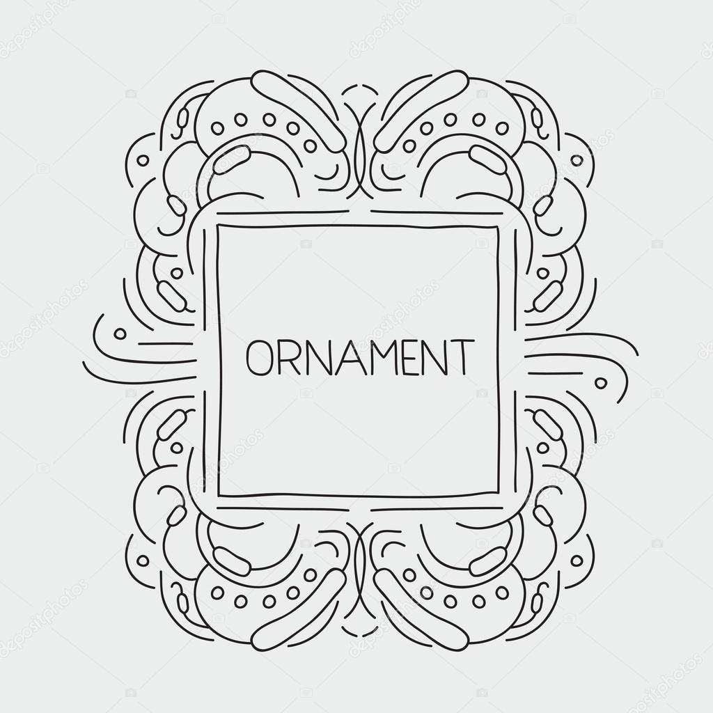 Mano dibuja la plantilla emblema elegante caligrafía monograma de ...