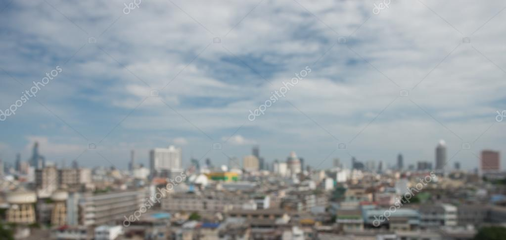 panoramic aerial view big city town blurred background.