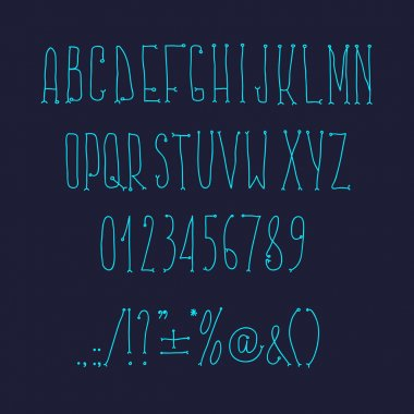 Type letters, numbers and punctuation marks Hand drawin alphabet handwritting abc vector modern font.