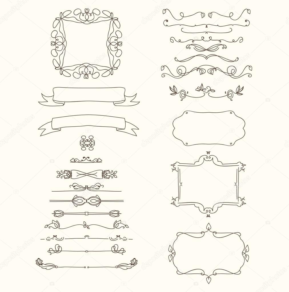 Hand drawn emblem abstract template Elegant linear frame outline ...