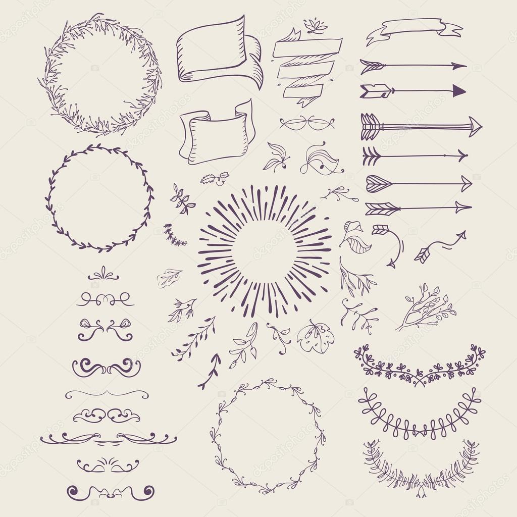 Hand gezeichnet Emblem abstrakte Vorlage Elegante lineare Rahmen ...