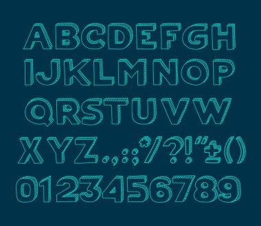 Hand drawin Handmade vintage alphabet