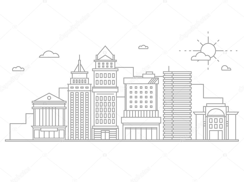 Big city business center skyscrapers megapolis buildings in linear flat design concept real estate architecture, commercial building and offices.