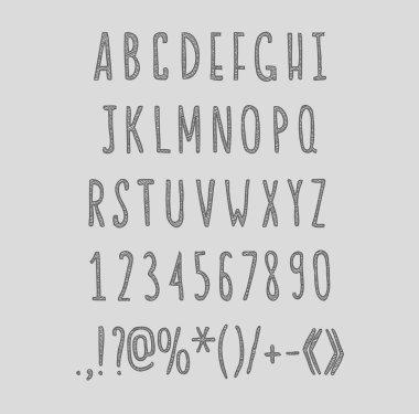 chalk sketched striped alphabet abc vector font.