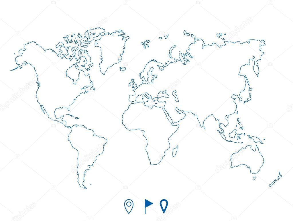 Political world blue map and contour illustration stock vector political world blue map and contour illustration stock vector gumiabroncs Images