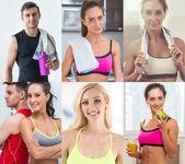 Fotografie Sammlung von verschiedenen viele glücklich lächelnd sportliche Jugendliche Gesichter caucasian Sportler-Frauen und Männer. Konzept-Business, avatar