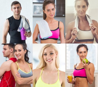 Collection of different many happy smiling young sportive people faces caucasian athlete women and men. Concept business, avatar.