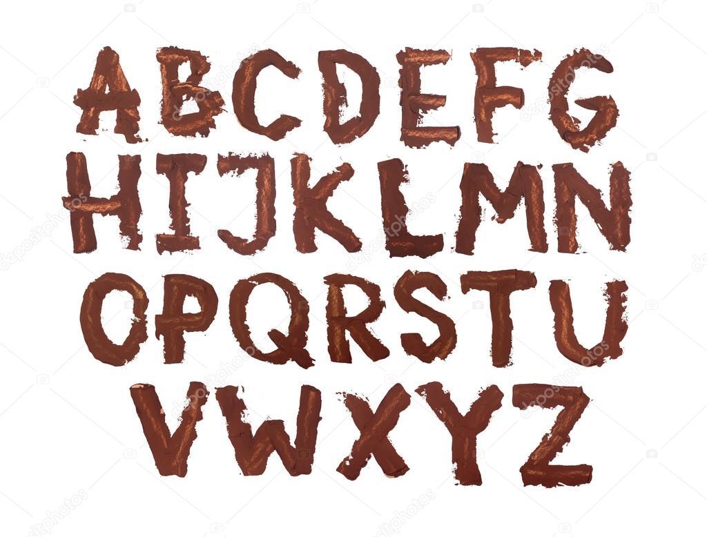 Kalın Büyük Yazı Tipi Alfabe El Yazısı Harfler Kalın Tabaka Boya