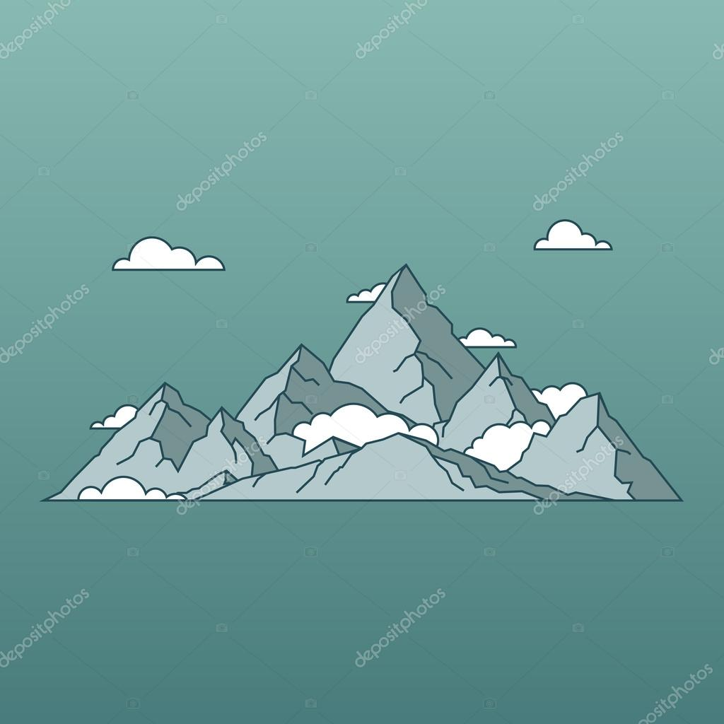 linear mountains landscape minimal flat style. Nature and travel.