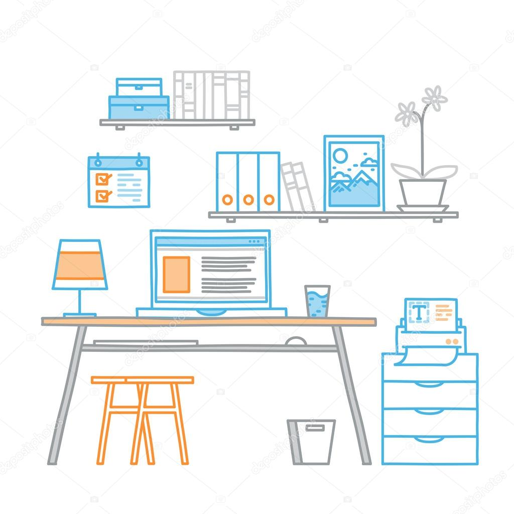 hand drawn office workspace minimalistic linear style concept work hand drawn office workspace minimalistic linear style concept work at home freelance programming process designer workplace vector by undrey