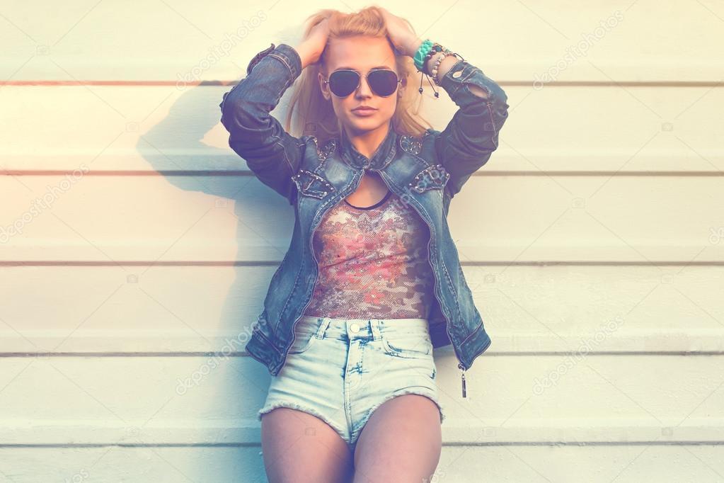 Portrait of young stylish girl