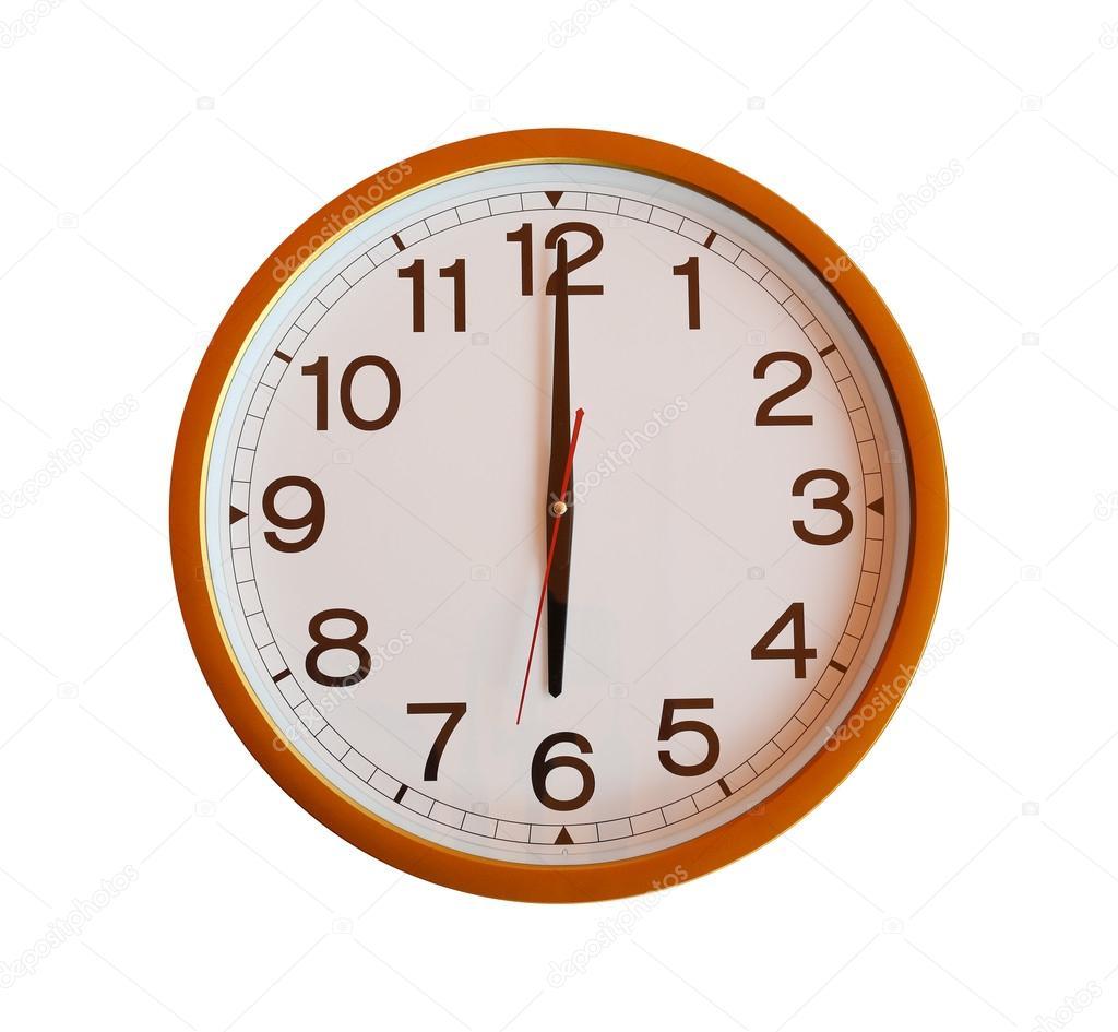 Aislado 00— Pared Foto Stock Reloj 6 Naranja De En lFc1TKJ